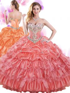 Beading and Ruffled Layers and Pick Ups Quinceanera Dress Watermelon Red Lace Up Sleeveless Floor Length