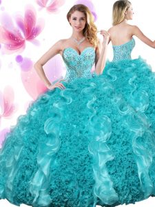 Teal Ball Gowns Sweetheart Sleeveless Organza Floor Length Lace Up Beading and Ruffles Quince Ball Gowns
