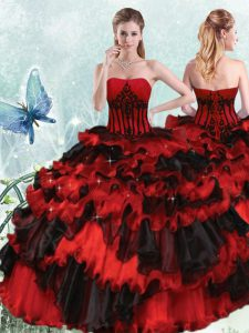 Organza Strapless Sleeveless Lace Up Appliques and Ruffled Layers 15th Birthday Dress in Red And Black