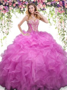 Lilac Organza Lace Up Quinceanera Gowns Sleeveless Floor Length Beading and Ruffles