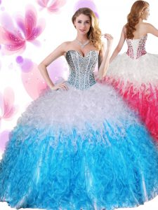 Sleeveless Lace Up Floor Length Beading and Ruffles Sweet 16 Dresses