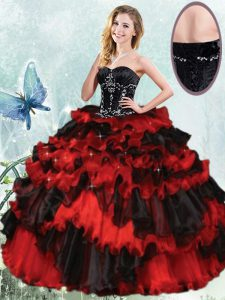 New Style Sleeveless Beading and Ruffled Layers Lace Up 15 Quinceanera Dress