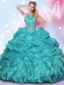 Captivating Teal Ball Gowns Halter Top Sleeveless Organza and Taffeta Floor Length Lace Up Appliques and Ruffles and Pick Ups Sweet 16 Dress