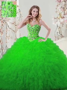 Tulle Sweetheart Sleeveless Lace Up Embroidery and Ruffles Quinceanera Gowns in