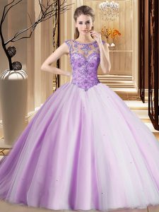 Top Selling Lavender Lace Up Scoop Beading Sweet 16 Dress Tulle Sleeveless Brush Train