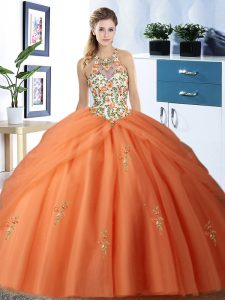Dramatic Pick Ups Halter Top Sleeveless Lace Up Quinceanera Dress Orange Tulle