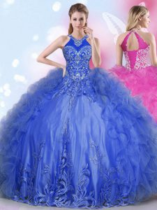 Halter Top Floor Length Lace Up Quince Ball Gowns Royal Blue for Military Ball and Sweet 16 and Quinceanera with Appliques and Ruffles