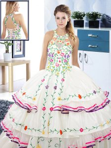 Halter Top White Sleeveless Floor Length Embroidery and Ruffled Layers Lace Up Sweet 16 Quinceanera Dress
