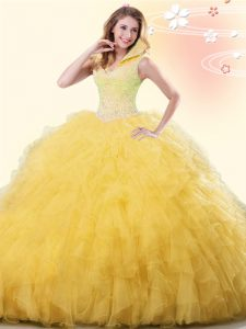 New Arrival Yellow Tulle Backless Sweet 16 Quinceanera Dress Sleeveless Floor Length Beading and Ruffles