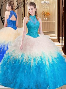 Deluxe Backless Multi-color Sleeveless Lace and Appliques and Ruffles Floor Length Quinceanera Dresses