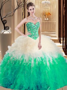 Luxurious Multi-color Ball Gowns Embroidery and Ruffles Quinceanera Dress Lace Up Tulle Sleeveless Floor Length