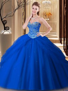 Sweetheart Sleeveless Sweet 16 Quinceanera Dress Floor Length Beading Royal Blue Tulle