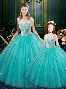 Fashionable Turquoise Zipper Sweet 16 Dress Lace Sleeveless Floor Length