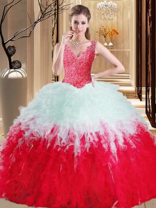Affordable White And Red Quinceanera Gown Military Ball and Sweet 16 and Quinceanera with Lace and Appliques and Ruffles V-neck Sleeveless Zipper