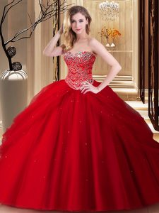Dramatic Red Tulle Lace Up Sweetheart Sleeveless Floor Length Quinceanera Dresses Beading