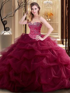 Glorious Burgundy Ball Gowns Sweetheart Sleeveless Tulle Floor Length Lace Up Beading and Ruffles Sweet 16 Dresses