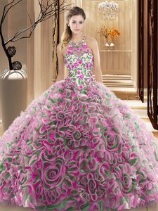Designer Multi-color Sleeveless Ruffles and Pattern Criss Cross Sweet 16 Dresses