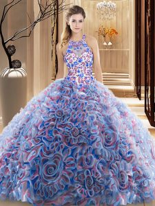 Criss Cross Fabric With Rolling Flowers Sleeveless Quinceanera Gowns Brush Train and Ruffles and Pattern
