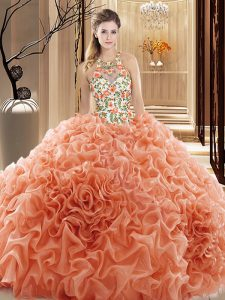 Romantic Ball Gowns Sleeveless Peach Quince Ball Gowns Court Train Backless