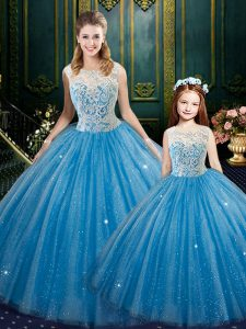 Cheap Baby Blue Sleeveless Floor Length Lace Lace Up 15th Birthday Dress