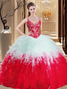 Noble Straps Sleeveless Lace Up Quinceanera Gowns White And Red Organza