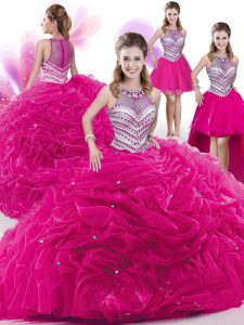 Fine Four Piece Hot Pink Zipper Quinceanera Dresses Beading and Pick Ups Sleeveless Floor Length