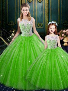 Sleeveless Floor Length Lace Lace Up Sweet 16 Dress