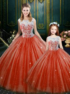 Captivating High-neck Sleeveless Vestidos de Quinceanera Floor Length Lace Orange Red Tulle