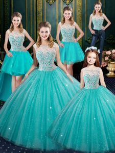 Glorious Aqua Blue Sleeveless Tulle Lace Up Vestidos de Quinceanera for Military Ball and Sweet 16 and Quinceanera