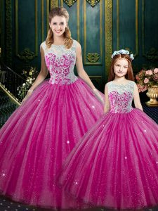 Floor Length Ball Gowns Sleeveless Hot Pink Quince Ball Gowns Lace Up