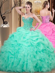 bcdfae99953 Elegant Apple Green Sweetheart Lace Up Beading and Ruffles and Pick Ups  15th Birthday Dress Sleeveless