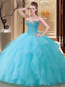 Aqua Blue Ball Gowns Tulle Sweetheart Sleeveless Beading Floor Length Lace Up 15th Birthday Dress