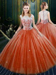 Orange Red Tulle Zipper 15 Quinceanera Dress Sleeveless Floor Length Lace
