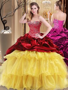 Beautiful Ball Gowns Vestidos de Quinceanera Multi-color Sweetheart Organza and Taffeta Sleeveless Floor Length Lace Up
