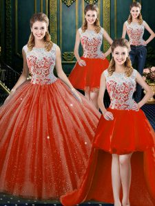 Dynamic Four Piece Orange Red High-neck Neckline Beading and Lace Quinceanera Dresses Sleeveless Zipper