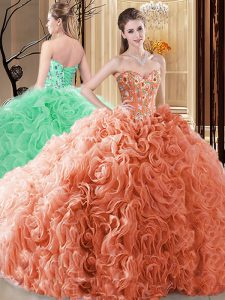 Hot Selling Floor Length Ball Gowns Sleeveless Orange Quinceanera Gown Lace Up