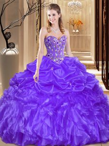 Customized Sleeveless Beading and Embroidery Lace Up 15th Birthday Dress