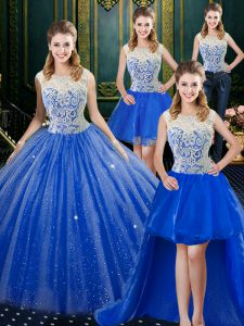 Sweet Four Piece Tulle High-neck Sleeveless Brush Train Zipper Lace Sweet 16 Dresses in Royal Blue