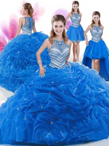 Superior Four Piece Sleeveless Organza Floor Length Zipper Quinceanera Gowns in Royal Blue with Beading and Pick Ups