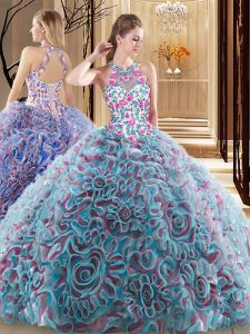 Modest Multi-color Ball Gowns Ruffles and Pattern Quince Ball Gowns Criss Cross Fabric With Rolling Flowers Sleeveless
