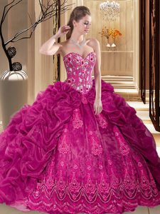 Fuchsia Organza Lace Up Quinceanera Dresses Sleeveless Court Train Embroidery and Pick Ups