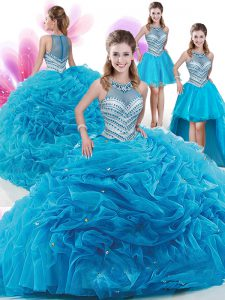 Four Piece Aqua Blue Organza Zipper High-neck Sleeveless With Train Vestidos de Quinceanera Court Train Ruffles and Pick Ups