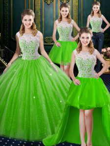 Four Piece Zipper High-neck Lace Vestidos de Quinceanera Tulle Sleeveless Brush Train