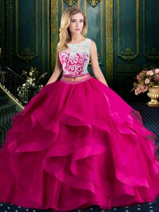 6125186fa53 Inexpensive Fuchsia Quince Ball Gowns Military Ball and Sweet 16 and  Quinceanera with Lace and Ruffles