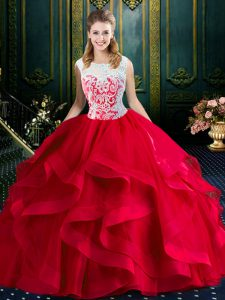 Colorful Red Ball Gowns Tulle Square Sleeveless Lace and Ruffles With Train Zipper Quince Ball Gowns Brush Train