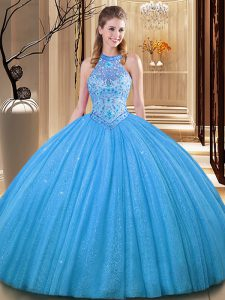 Graceful Backless Baby Blue Sleeveless Embroidery Floor Length Vestidos de Quinceanera