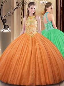 Traditional Embroidery and Hand Made Flower Sweet 16 Dresses Orange Backless Sleeveless Floor Length