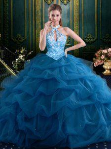 Halter Top Sleeveless Sweet 16 Dress Floor Length Beading and Pick Ups Navy Blue Tulle