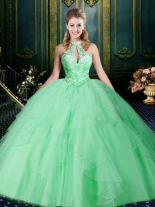 Apple Green 15 Quinceanera Dress Military Ball and Sweet 16 and Quinceanera with Beading and Lace and Ruffles and Ruching Halter Top Sleeveless Lace Up