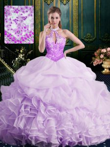 Lovely Halter Top Sleeveless Brush Train Beading and Lace and Appliques and Ruffles and Pick Ups Lace Up Ball Gown Prom Dress